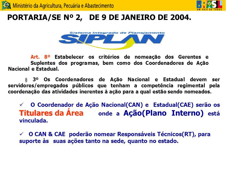 § 3º Os Coordenadores de Ação Nacional e Estadual devem ser servidores/empregados públicos que tenham a competência regimental pela coordenação das at