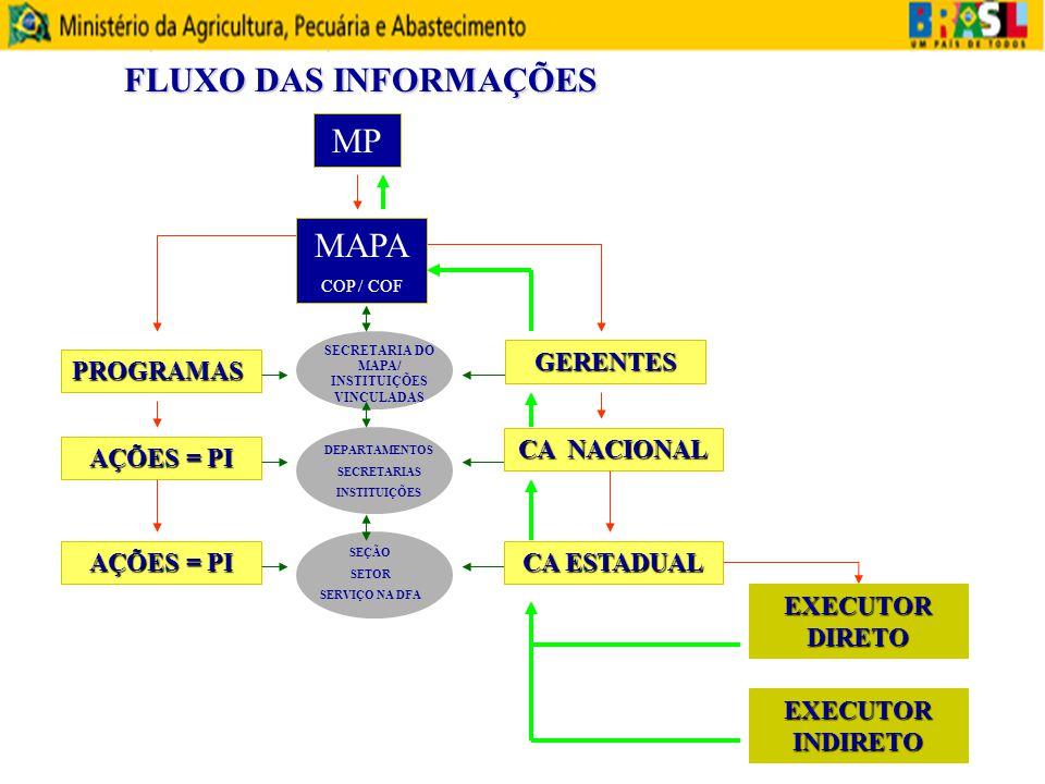 MP MAPA COP / COF PROGRAMAS AÇÕES = PI SECRETARIA DO MAPA/ INSTITUIÇÕES VINCULADAS DEPARTAMENTOS SECRETARIAS INSTITUIÇÕES SEÇÃO SETOR SERVIÇO NA DFA G