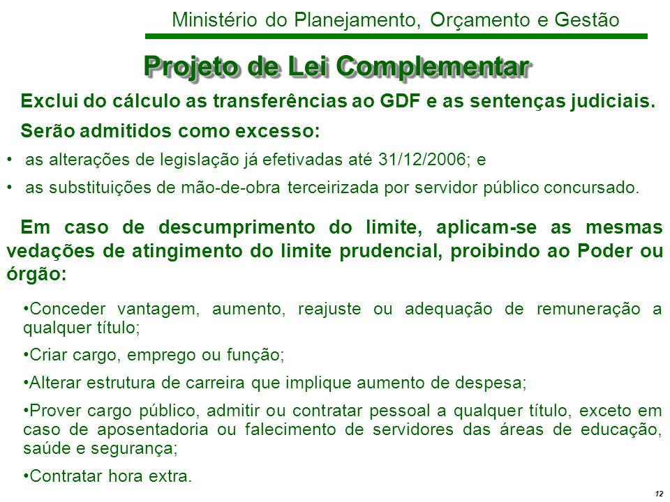 12 Ministério do Planejamento, Orçamento e Gestão Projeto de Lei Complementar Exclui do cálculo as transferências ao GDF e as sentenças judiciais.