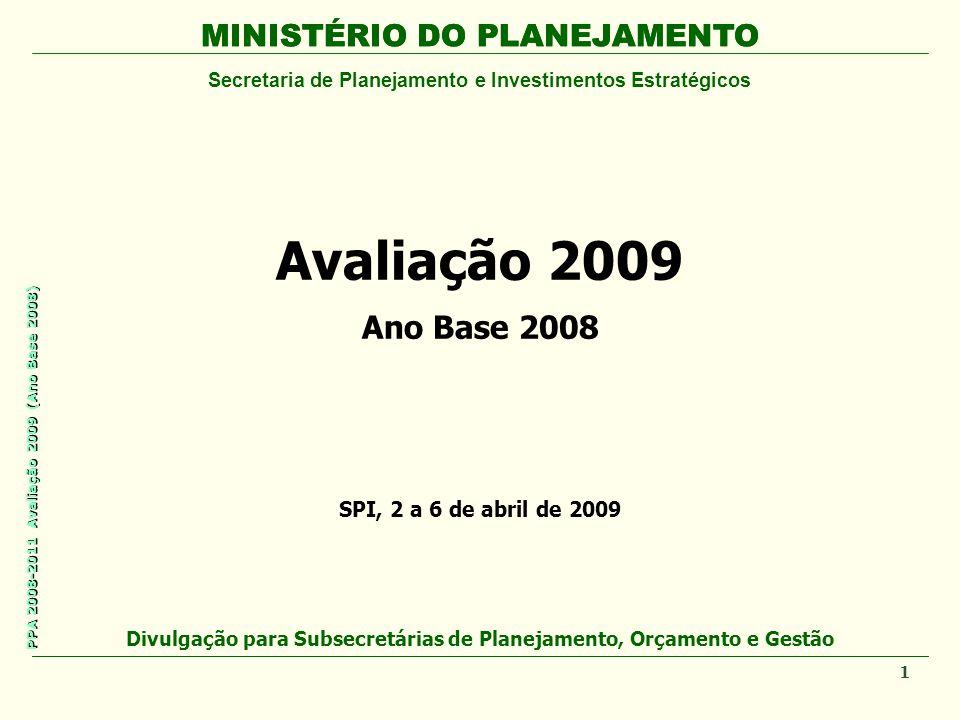 MINISTÉRIO DO PLANEJAMENTO Secretaria de Planejamento e Investimentos Estratégicos PPA 2008-2011 Avaliação 2009 (Ano Base 2008) Avaliação 2009 Ano Bas