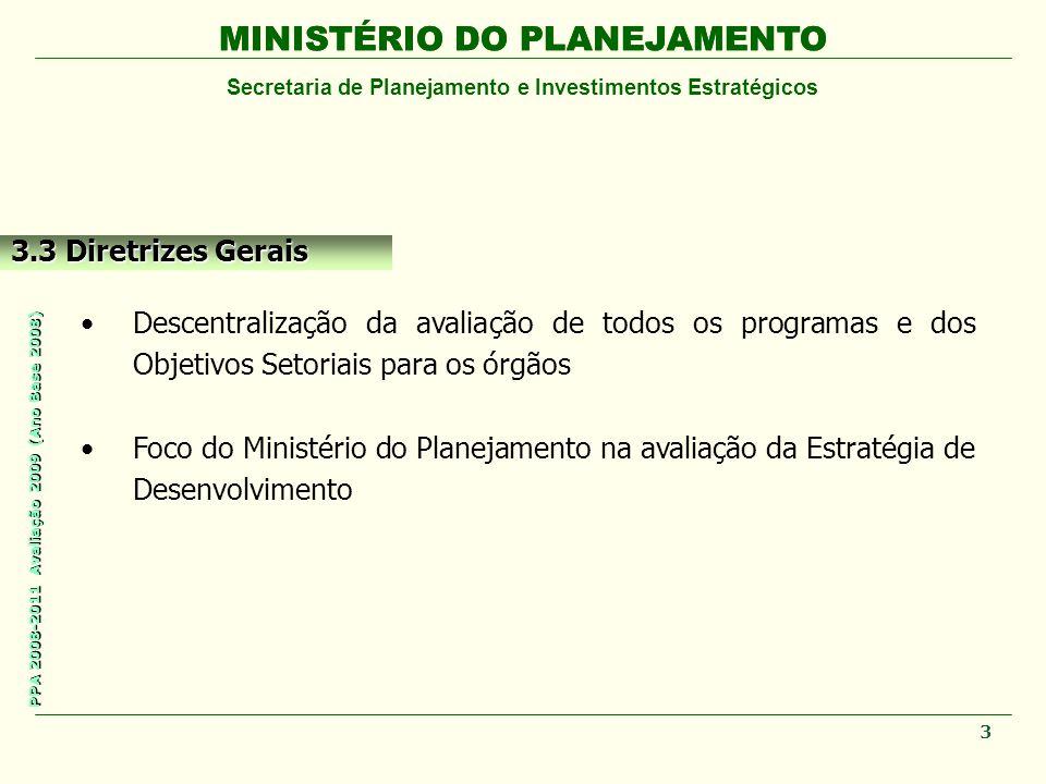 MINISTÉRIO DO PLANEJAMENTO Secretaria de Planejamento e Investimentos Estratégicos PPA 2008-2011 Avaliação 2009 (Ano Base 2008) MINISTÉRIO DO PLANEJAMENTO 3.3 Diretrizes Gerais Descentralização da avaliação de todos os programas e dos Objetivos Setoriais para os órgãos Foco do Ministério do Planejamento na avaliação da Estratégia de Desenvolvimento 3