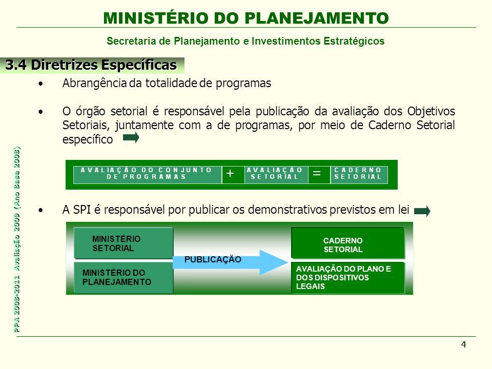 MINISTÉRIO DO PLANEJAMENTO Secretaria de Planejamento e Investimentos Estratégicos PPA 2008-2011 Avaliação 2009 (Ano Base 2008) Abrangência da totalid