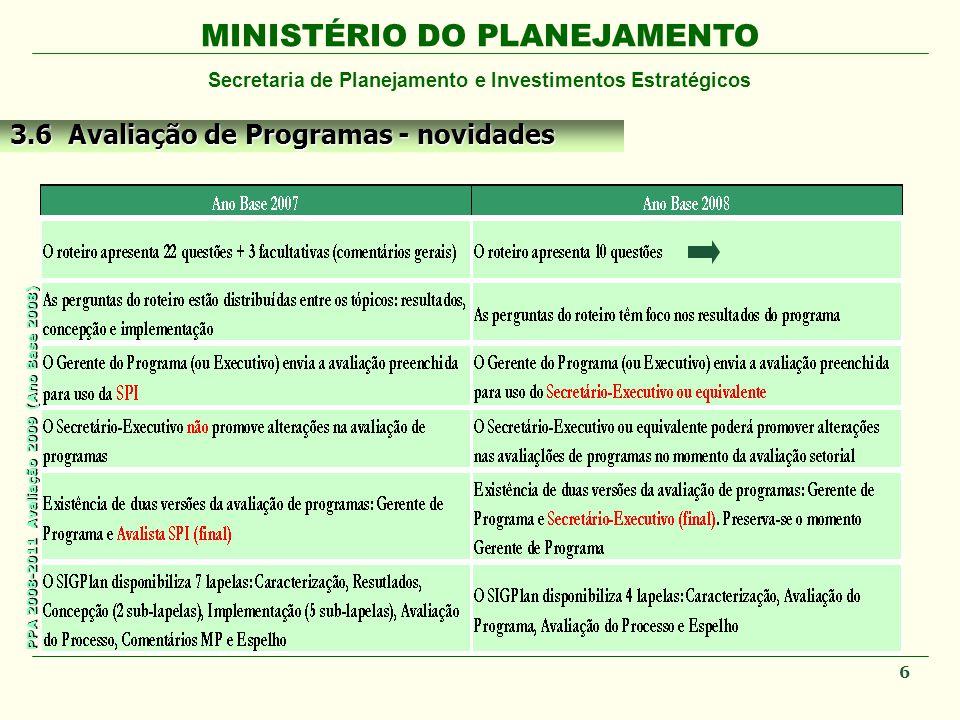 MINISTÉRIO DO PLANEJAMENTO Secretaria de Planejamento e Investimentos Estratégicos PPA 2008-2011 Avaliação 2009 (Ano Base 2008) 6 3.6 Avaliação de Programas - novidades