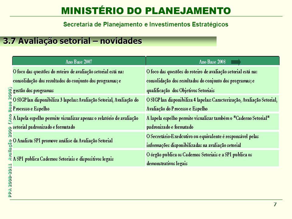 MINISTÉRIO DO PLANEJAMENTO Secretaria de Planejamento e Investimentos Estratégicos PPA 2008-2011 Avaliação 2009 (Ano Base 2008) 7 3.7 Avaliação setorial – novidades