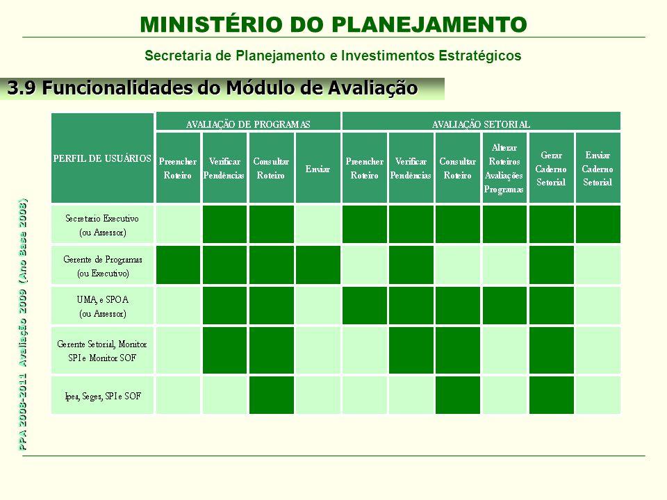 MINISTÉRIO DO PLANEJAMENTO Secretaria de Planejamento e Investimentos Estratégicos PPA 2008-2011 Avaliação 2009 (Ano Base 2008) 3.9 Funcionalidades do