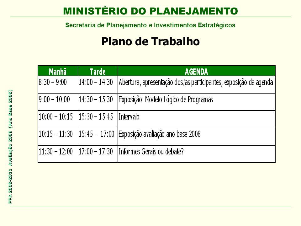 MINISTÉRIO DO PLANEJAMENTO Secretaria de Planejamento e Investimentos Estratégicos PPA 2008-2011 Avaliação 2009 (Ano Base 2008) Plano de Trabalho