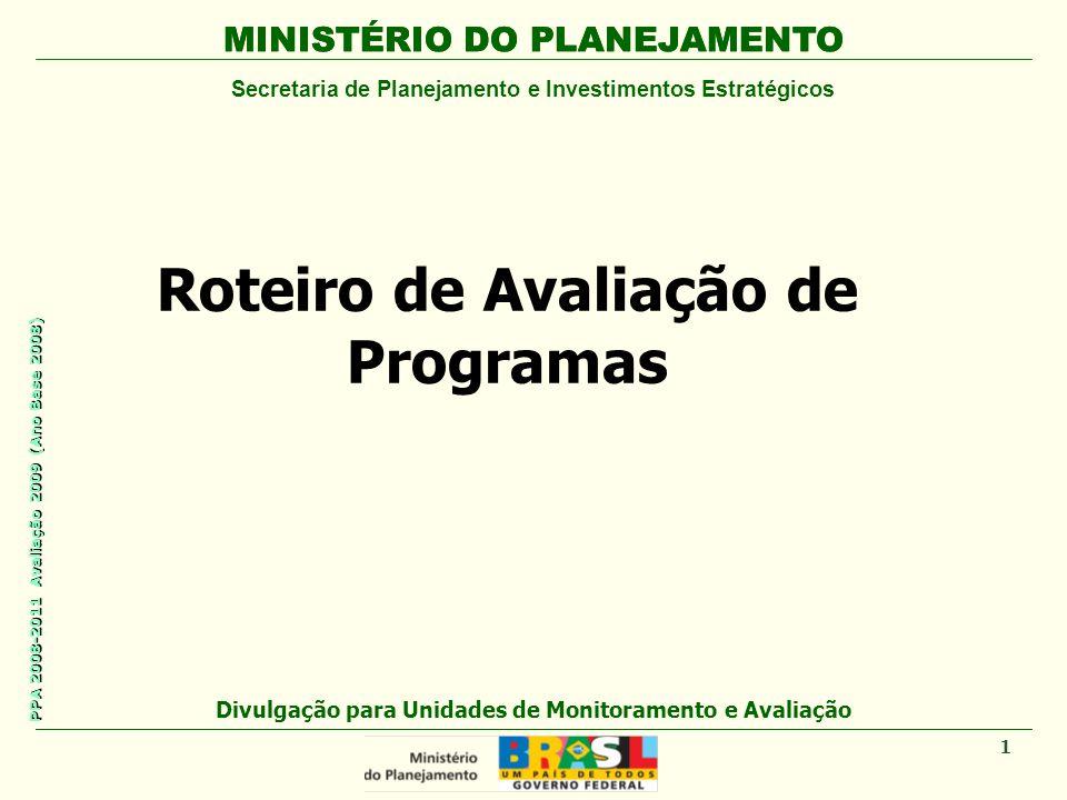 MINISTÉRIO DO PLANEJAMENTO Secretaria de Planejamento e Investimentos Estratégicos PPA 2008-2011 Avaliação 2009 (Ano Base 2008) Roteiro de Avaliação d