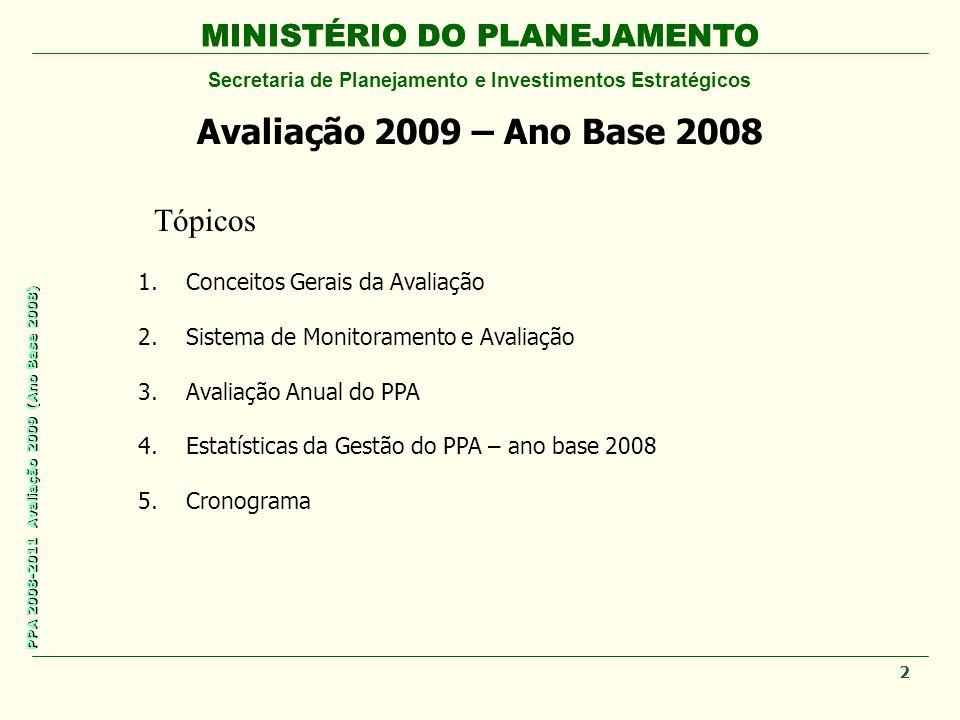 MINISTÉRIO DO PLANEJAMENTO Secretaria de Planejamento e Investimentos Estratégicos PPA 2008-2011 Avaliação 2009 (Ano Base 2008) MINISTÉRIO DO PLANEJAMENTO Avaliação 2009 – Ano Base 2008 Tópicos 1.Conceitos Gerais da Avaliação 2.Sistema de Monitoramento e Avaliação 3.Avaliação Anual do PPA 4.Estatísticas da Gestão do PPA – ano base 2008 5.Cronograma 2