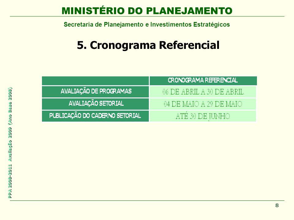 MINISTÉRIO DO PLANEJAMENTO Secretaria de Planejamento e Investimentos Estratégicos PPA 2008-2011 Avaliação 2009 (Ano Base 2008) 5. Cronograma Referenc