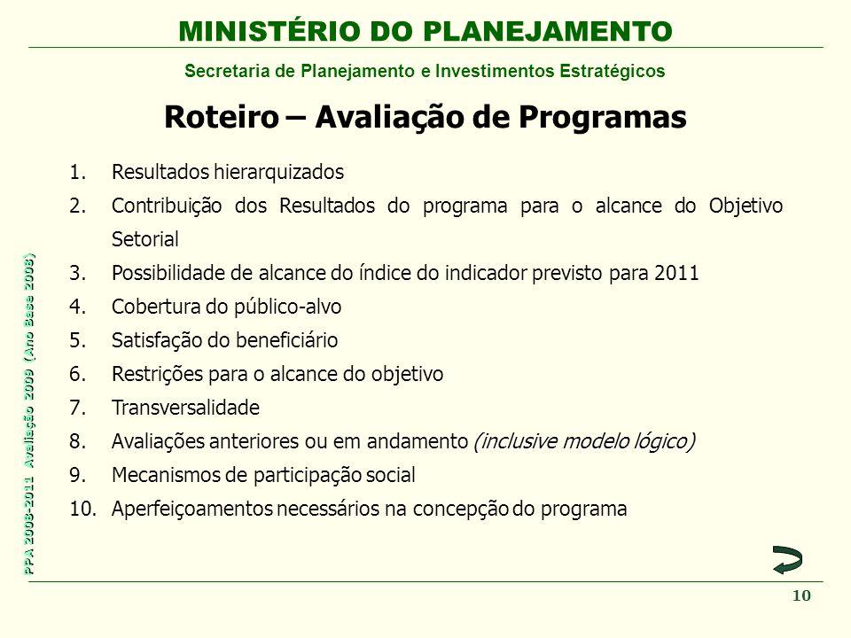 MINISTÉRIO DO PLANEJAMENTO Secretaria de Planejamento e Investimentos Estratégicos PPA 2008-2011 Avaliação 2009 (Ano Base 2008) Roteiro – Avaliação de