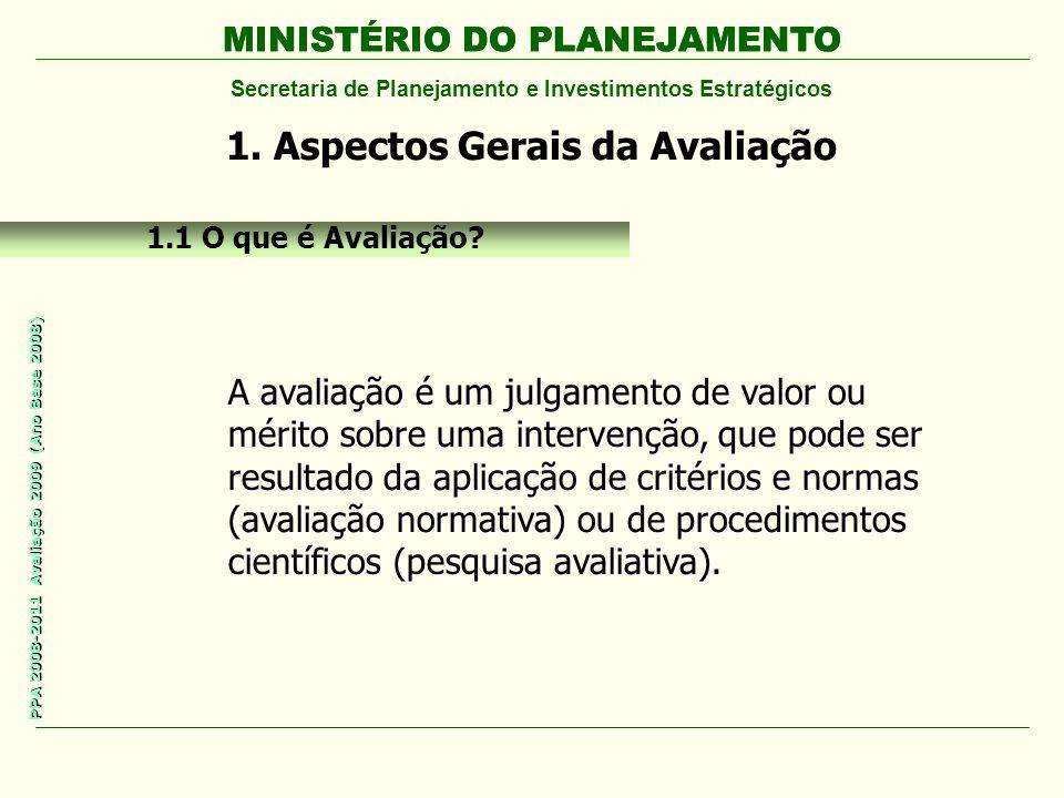 MINISTÉRIO DO PLANEJAMENTO Secretaria de Planejamento e Investimentos Estratégicos PPA 2008-2011 Avaliação 2009 (Ano Base 2008) MINISTÉRIO DO PLANEJAMENTO 1.1 O que é Avaliação.