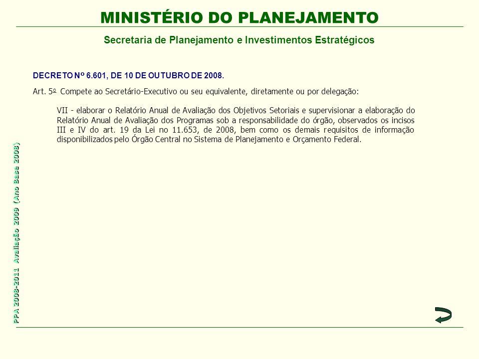 MINISTÉRIO DO PLANEJAMENTO Secretaria de Planejamento e Investimentos Estratégicos PPA 2008-2011 Avaliação 2009 (Ano Base 2008) Art. 5 o Compete ao Se