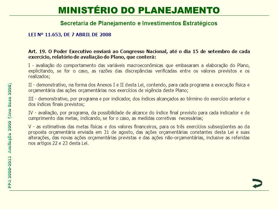 MINISTÉRIO DO PLANEJAMENTO Secretaria de Planejamento e Investimentos Estratégicos PPA 2008-2011 Avaliação 2009 (Ano Base 2008) LEI Nº 11.653, DE 7 ABRIL DE 2008 Art.