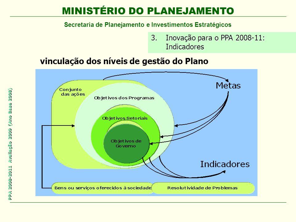 MINISTÉRIO DO PLANEJAMENTO Secretaria de Planejamento e Investimentos Estratégicos PPA 2008-2011 Avaliação 2009 (Ano Base 2008) 3.Inovação para o PPA