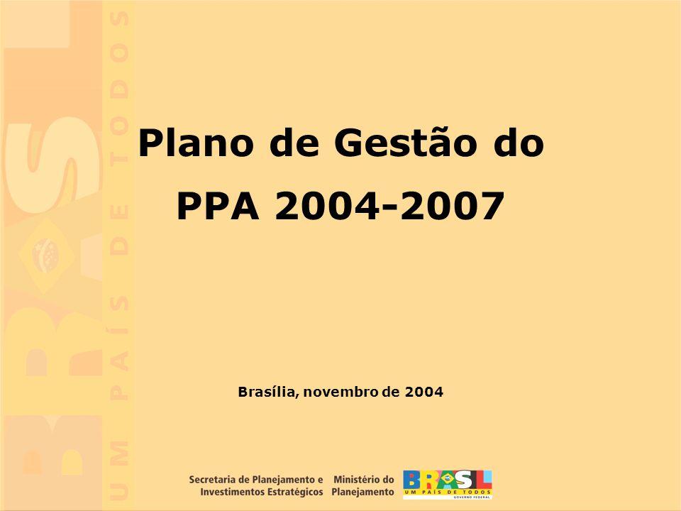 1 Brasília, novembro de 2004 Plano de Gestão do PPA 2004-2007