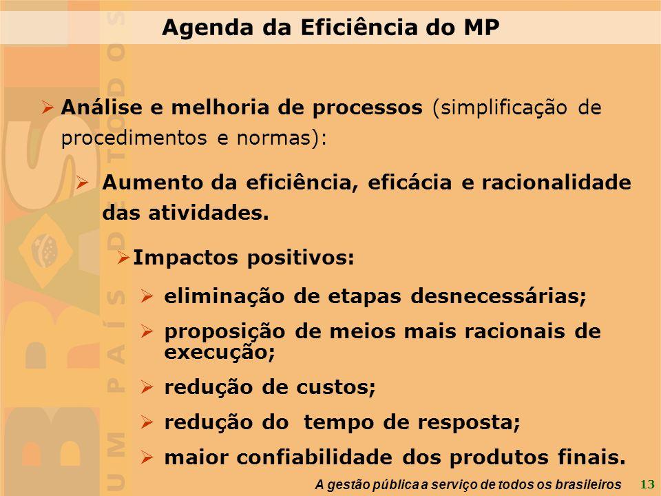 13 A gestão pública a serviço de todos os brasileiros Agenda da Eficiência do MP Análise e melhoria de processos (simplificação de procedimentos e nor