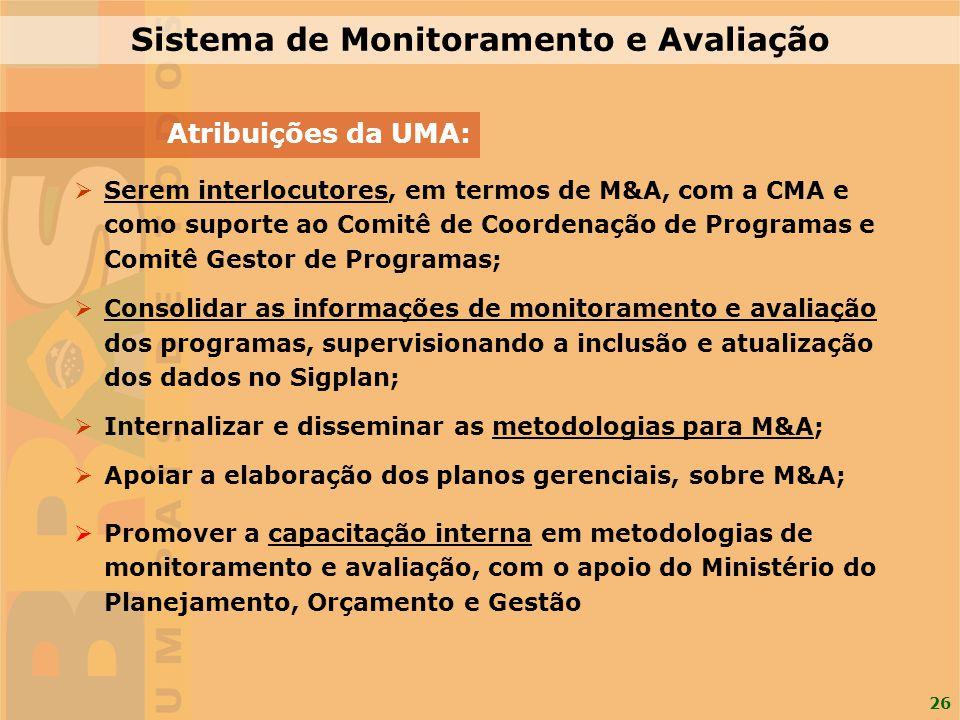 26 Sistema de Monitoramento e Avaliação Atribuições da UMA: Serem interlocutores, em termos de M&A, com a CMA e como suporte ao Comitê de Coordenação