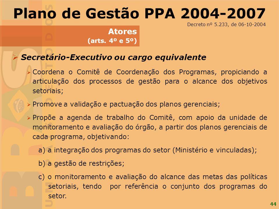 44 Secretário-Executivo ou cargo equivalente Coordena o Comitê de Coordenação dos Programas, propiciando a articulação dos processos de gestão para o