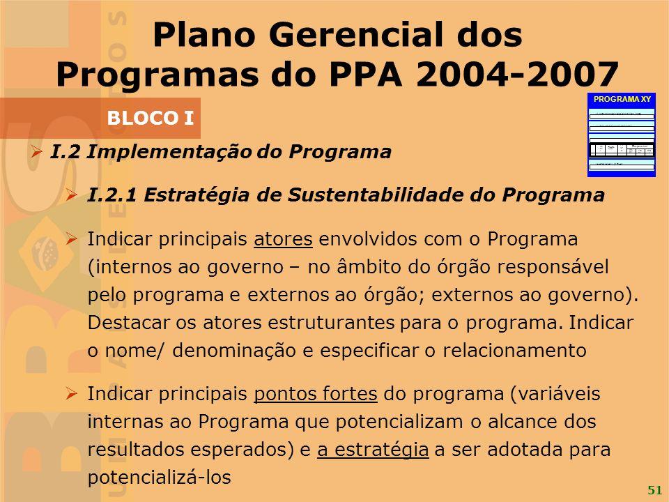 51 I.2 Implementação do Programa I.2.1 Estratégia de Sustentabilidade do Programa Indicar principais atores envolvidos com o Programa (internos ao gov