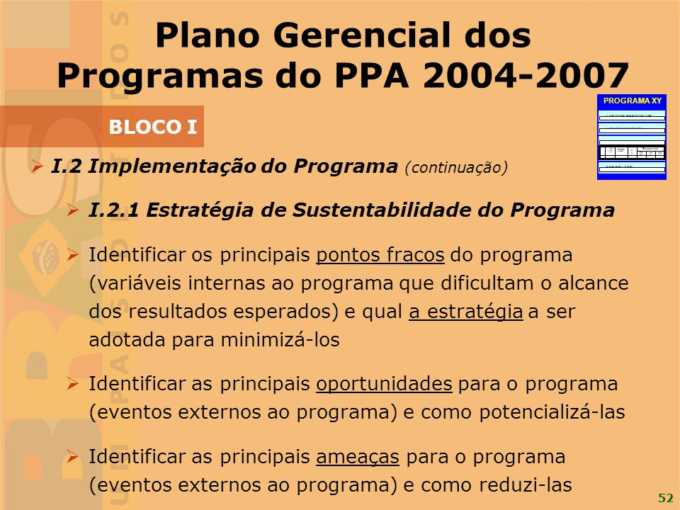 52 I.2 Implementação do Programa (continuação) I.2.1 Estratégia de Sustentabilidade do Programa Identificar os principais pontos fracos do programa (v