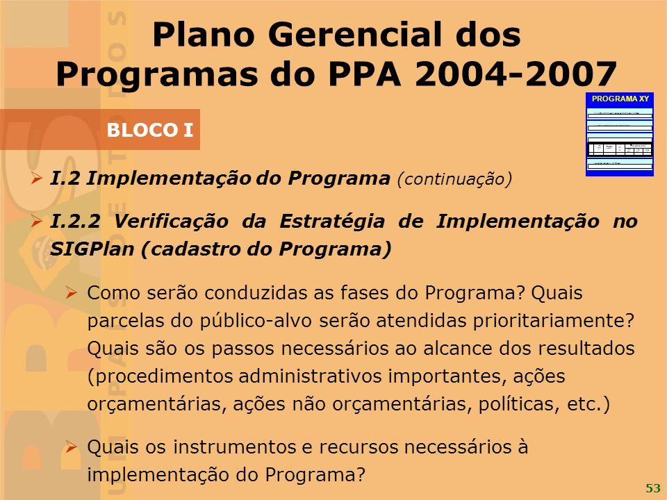 53 I.2 Implementação do Programa (continuação) I.2.2 Verificação da Estratégia de Implementação no SIGPlan (cadastro do Programa) Como serão conduzida