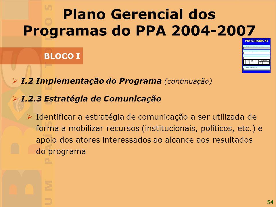 54 I.2 Implementação do Programa (continuação) I.2.3 Estratégia de Comunicação Identificar a estratégia de comunicação a ser utilizada de forma a mobi