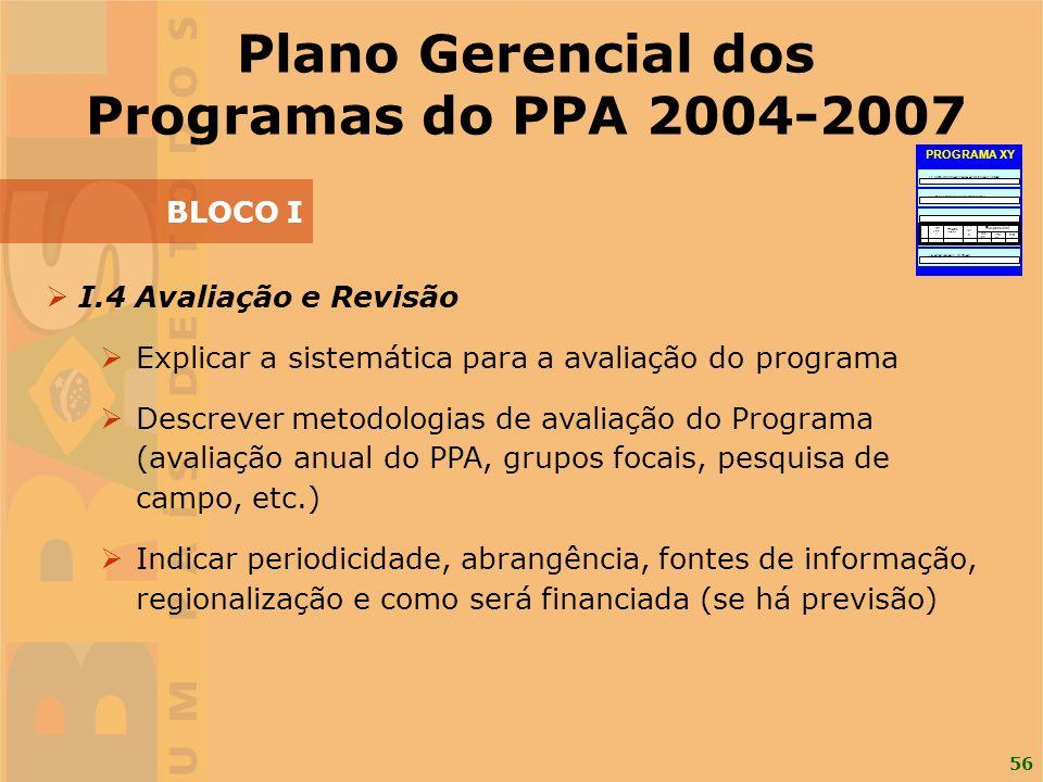 56 I.4 Avaliação e Revisão Explicar a sistemática para a avaliação do programa Descrever metodologias de avaliação do Programa (avaliação anual do PPA