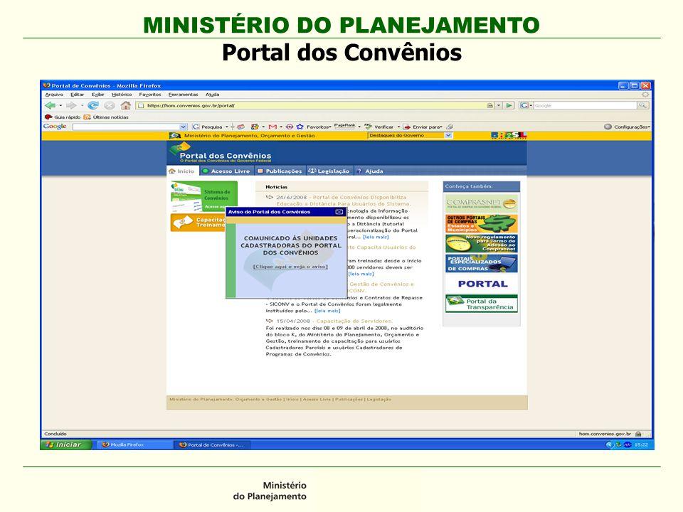 MINISTÉRIO DO PLANEJAMENTO Portal dos Convênios