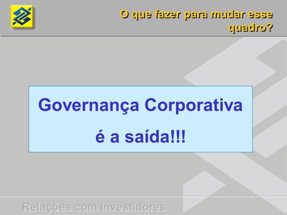 Relações com Investidores Governança Corporativa é a saída!!! O que fazer para mudar esse quadro?
