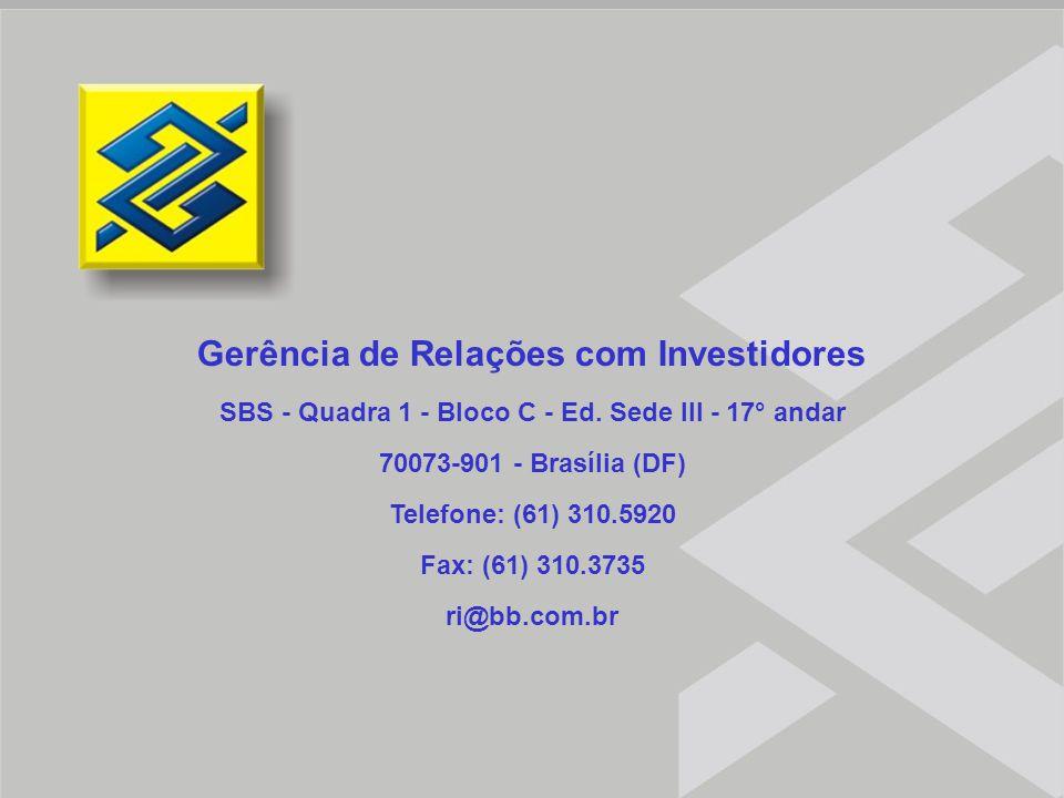 Relações com Investidores Gerência de Relações com Investidores SBS - Quadra 1 - Bloco C - Ed. Sede III - 17° andar 70073-901 - Brasília (DF) Telefone