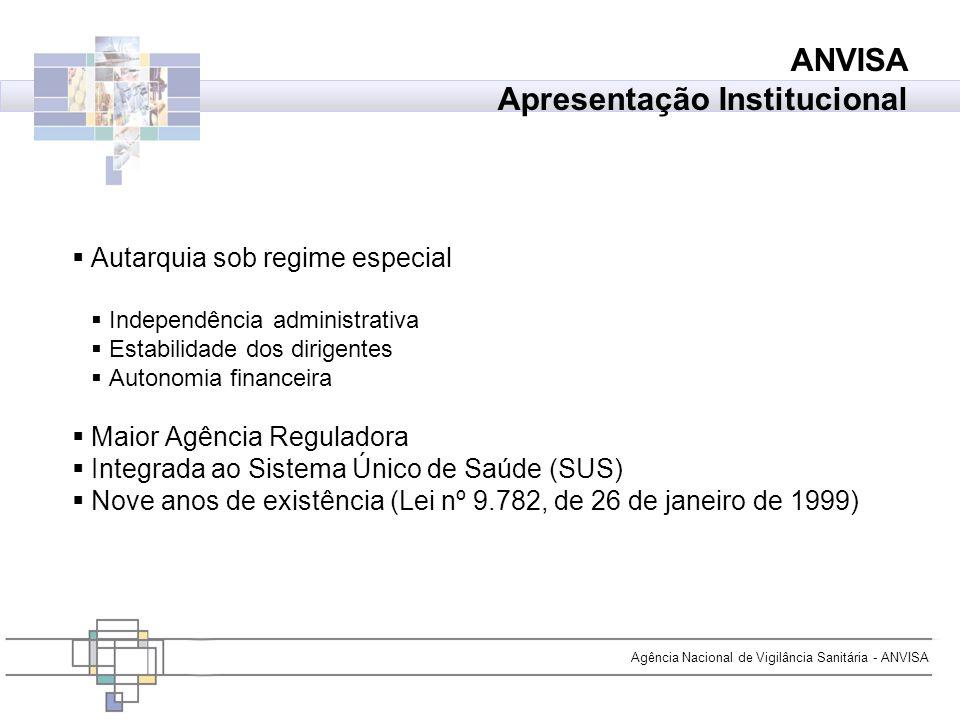 Agência Nacional de Vigilância Sanitária - ANVISA Autarquia sob regime especial Independência administrativa Estabilidade dos dirigentes Autonomia fin