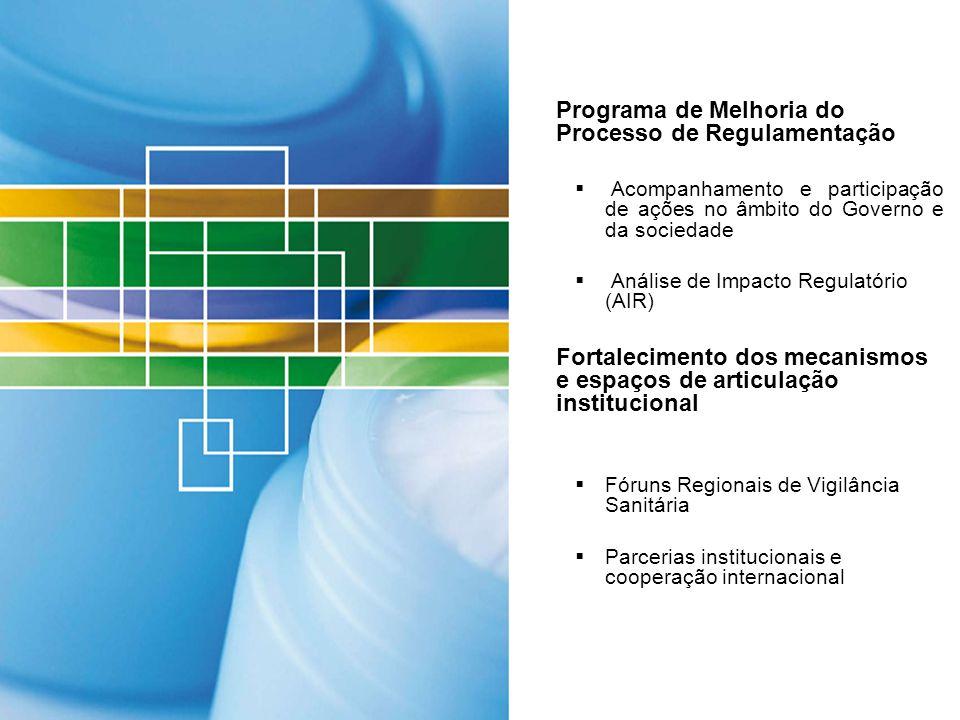 Programa de Melhoria do Processo de Regulamentação Acompanhamento e participação de ações no âmbito do Governo e da sociedade Análise de Impacto Regul