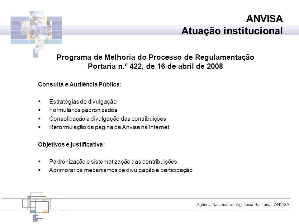 Agência Nacional de Vigilância Sanitária - ANVISA ANVISA Atuação institucional Consulta e Audiência Pública: Estratégias de divulgação Formulários pad