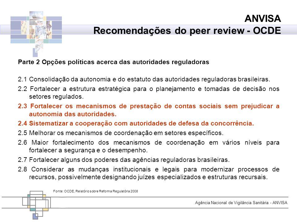 Agência Nacional de Vigilância Sanitária - ANVISA ANVISA Recomendações do peer review - OCDE Fonte: OCDE, Relatório sobre Reforma Regulatória 2008 Par