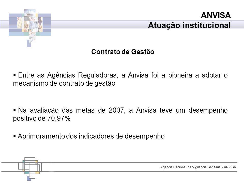 Agência Nacional de Vigilância Sanitária - ANVISA Entre as Agências Reguladoras, a Anvisa foi a pioneira a adotar o mecanismo de contrato de gestão Na