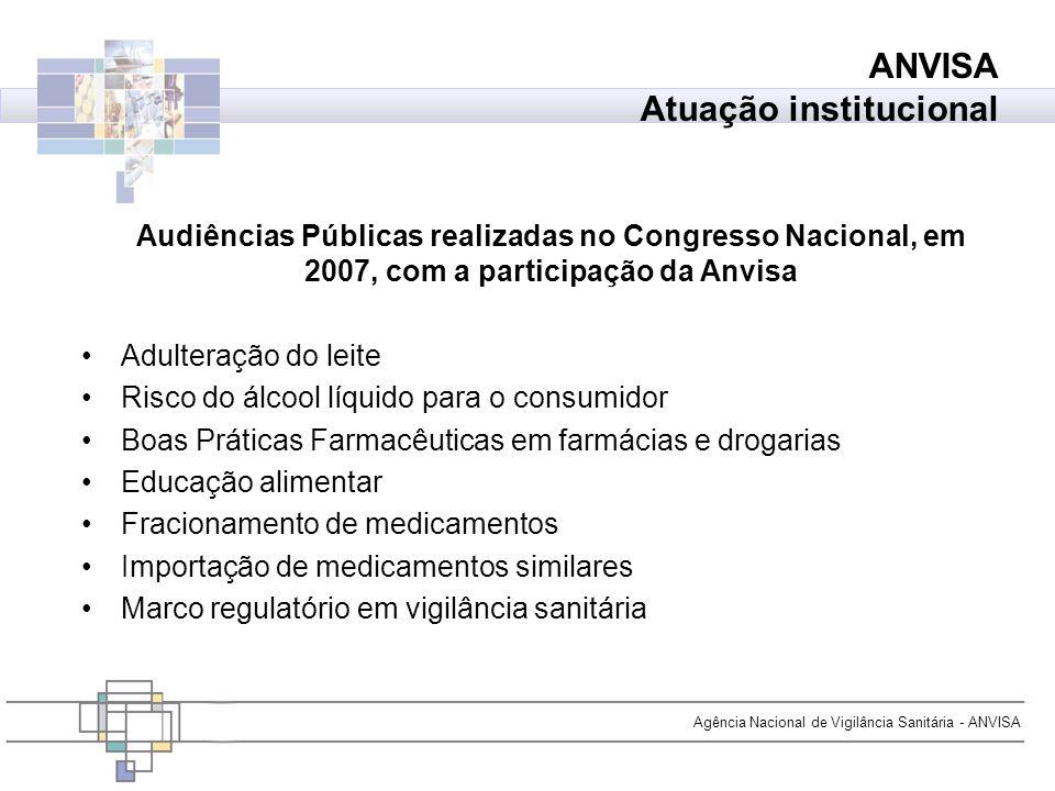 Agência Nacional de Vigilância Sanitária - ANVISA Audiências Públicas realizadas no Congresso Nacional, em 2007, com a participação da Anvisa Adultera
