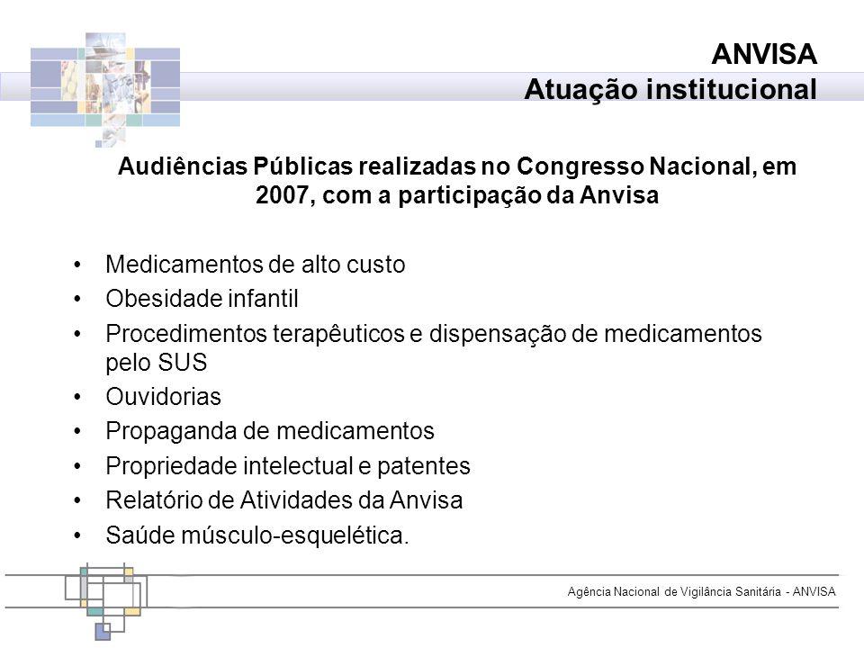 Agência Nacional de Vigilância Sanitária - ANVISA Audiências Públicas realizadas no Congresso Nacional, em 2007, com a participação da Anvisa Medicame