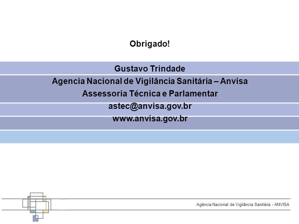 Agência Nacional de Vigilância Sanitária - ANVISA Obrigado! Gustavo Trindade Agencia Nacional de Vigilância Sanitária – Anvisa Assessoria Técnica e Pa