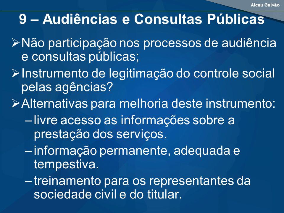 Alceu Galvão 9 – Audiências e Consultas Públicas Não participação nos processos de audiência e consultas públicas; Instrumento de legitimação do controle social pelas agências.