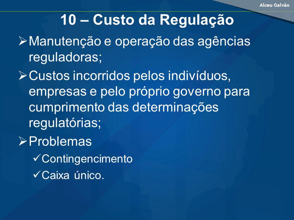 Alceu Galvão 10 – Custo da Regulação Manutenção e operação das agências reguladoras; Custos incorridos pelos indivíduos, empresas e pelo próprio governo para cumprimento das determinações regulatórias; Problemas Contingencimento Caixa único.