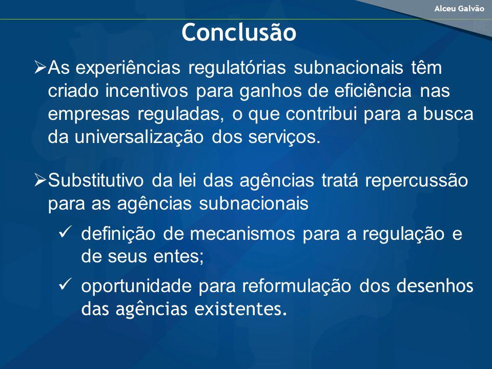 Alceu Galvão As experiências regulatórias subnacionais têm criado incentivos para ganhos de eficiência nas empresas reguladas, o que contribui para a busca da universalização dos serviços.