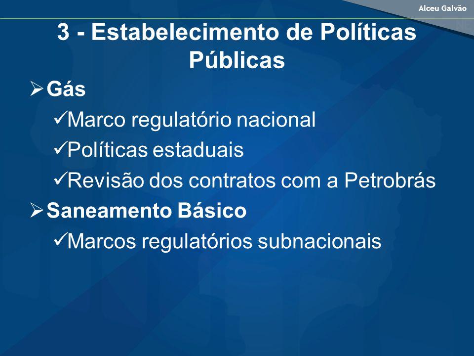 Alceu Galvão 3 - Estabelecimento de Políticas Públicas Gás Marco regulatório nacional Políticas estaduais Revisão dos contratos com a Petrobrás Saneamento Básico Marcos regulatórios subnacionais