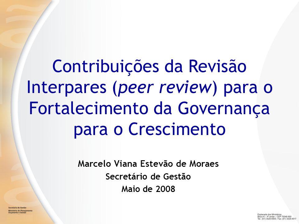 Marcelo Viana Estevão de Moraes Secretário de Gestão Maio de 2008 Contribuições da Revisão Interpares (peer review) para o Fortalecimento da Governanç