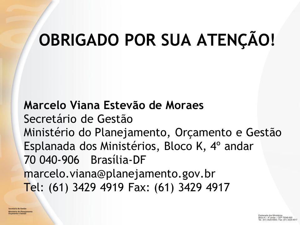OBRIGADO POR SUA ATENÇÃO! Marcelo Viana Estevão de Moraes Secretário de Gestão Ministério do Planejamento, Orçamento e Gestão Esplanada dos Ministério