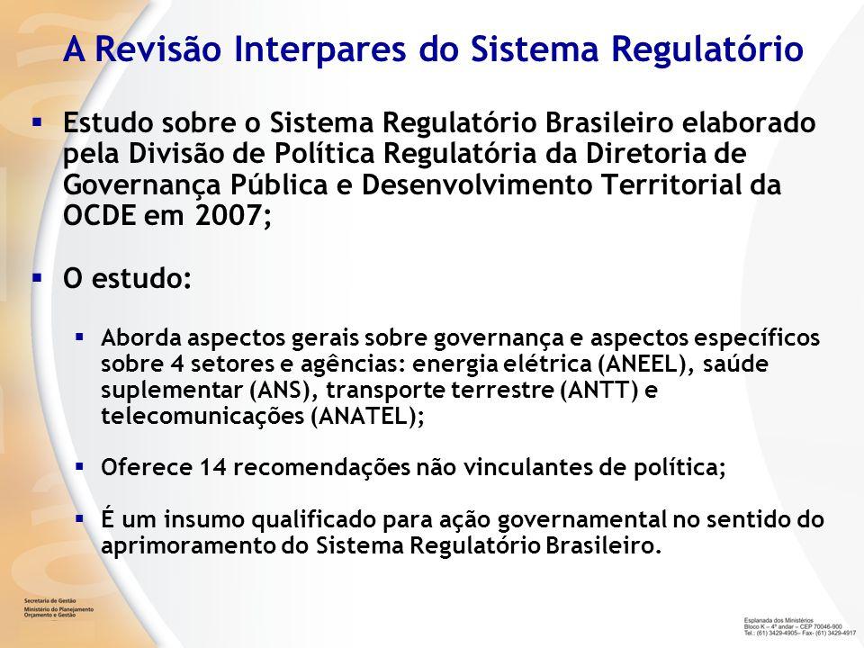 Estudo sobre o Sistema Regulatório Brasileiro elaborado pela Divisão de Política Regulatória da Diretoria de Governança Pública e Desenvolvimento Terr