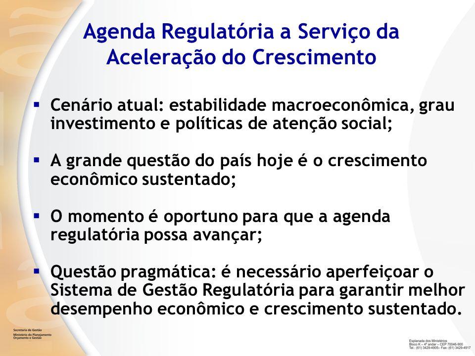 Principais Desafios A qualidade da regulação do Brasil é superior à média da América Latina, mas é inferior à dos países da OCDE; A quantidade de normas é significativa e onerosa; Não existe programa de garantia de qualidade regulatória; Não existe utilização sistemática de ferramentas que garantam a qualidade da regulação; As capacidades institucionais para a regulação de alta qualidade são fragmentadas e os mecanismos de coordenação são frágeis.