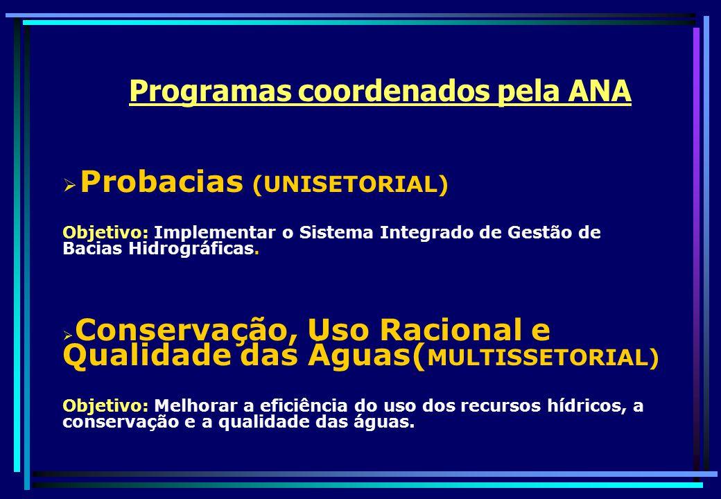 Probacias (UNISETORIAL) Objetivo: Implementar o Sistema Integrado de Gestão de Bacias Hidrográficas. Conservação, Uso Racional e Qualidade das Águas(