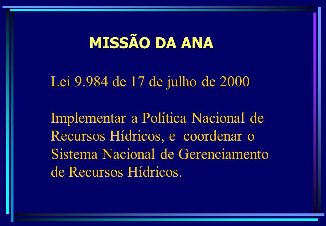 MISSÃO DA ANA Lei 9.984 de 17 de julho de 2000 Implementar a Política Nacional de Recursos Hídricos, e coordenar o Sistema Nacional de Gerenciamento d