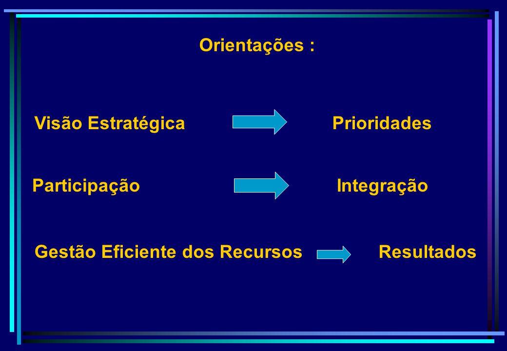 Orientações : Visão Estratégica Prioridades Gestão Eficiente dos Recursos Resultados Participação Integração