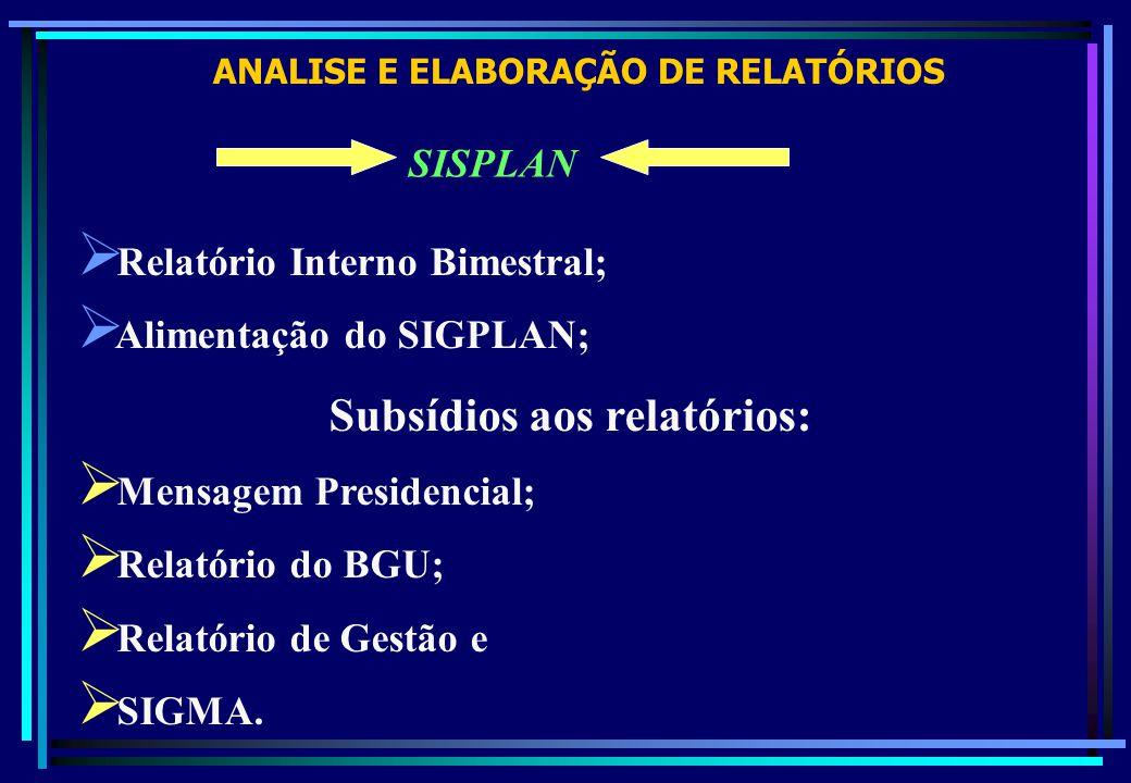 ANALISE E ELABORAÇÃO DE RELATÓRIOS SISPLAN Relatório Interno Bimestral; Alimentação do SIGPLAN; Subsídios aos relatórios: Mensagem Presidencial; Relat